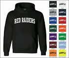 Red Raiders College Letter Team Name Jersey Hooded Sweatshirt