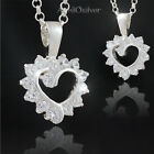New Sterling Silver 925 Set Heart with 14 Zircons and Rolo Chain Christmasgift
