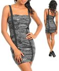 Ladies Women Black Club Party Sequin Bandage Dress Size 8 10 12 NEW