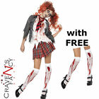 Zombie School Girl High School Halloween Fancy Dress Ladies Costume FREE Socks