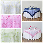 """10 pcs 85x85"""" Embroidered Sheer Organza Table OVERLAYS Wedding Decorations SALE"""