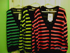 NWT-WOMENS EIGHT EIGHT EIGHT  STRIPED CARDIGAN SWEATER:$78:U-CHOOSE COLOR:LARGE
