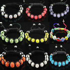 Fashion Disco Ball Clear Crystal Beads Macrame Bracelet Various Color U Choose