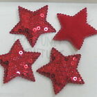 30 pcs Padded Felt Star w/Sequin Appliques 40mm A037 U pick