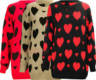 O35 NEW WOMEN LADIES HEART DESIGN WINTER PLUS SIZE JUMPER  IN 16-32