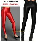 High Waist Wet Look Shinny Stretchy Disco Leggings Tights Pants Size UK 6 -20