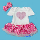 Baby Girls 3D Rosettes Light Pink Polka Dots Romper Bodysuit Pettiskirt NB-18M