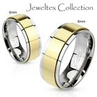 Stainless Steel 2Tone 8MM Wedding Ring Band Gold IP Electroplated Spinner HJ659