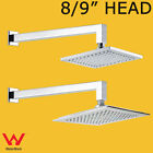 """WELS 8"""" / 9"""" ABS Square Rainfall Shower Head + 400mm Square Cubic Shower Arm Set"""
