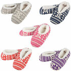 Womens Knitted Snugg Slippers With Soft Cosy Lining & Stylish Fairisle Design