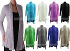 LADIES KNITTED BOYFRIEND LONG SLEEVE JUMPER WATERFALL CARDIGAN PLUS SIZE 16-26