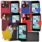 For Iphone 5C Phone New 5 Colour Leather Wallet Case Cover + Screen Protector