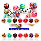 Surgical Steel Tongue Bars with 2 Tone Swirl Balls in 1.6mm x 16mm Barbells