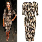 Sexy Allover Leopard Half Sleeve Women's Formal Bodycon Pencil Midi Ladies Dress