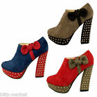 Bow contrast studs high heel platform boots shoes suede colour blocking Size UK