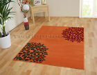 SMALL - EXTRA LARGE ORANGE TERRACOTTA BLOOM MODERN FUNKY CHEAP SOFT FLOWER RUG