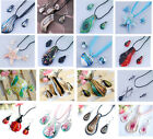 Mixed 16 Styles Murano Lampwork Glass Pendant Necklace Earrings Set Xmas Gift