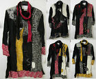 Lagenlook Miami by Sarah Santos Patchwork Layered Wool Dress Top Textured Scarf