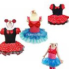 Minnie Mouse Girls Kids Party Costume Ballet Tutu Dress Skirt Free Ears SZ 1-10