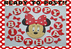 EDIBLE MINNIE MOUSE RED PINK POLKA BOW HAPPY BIRTHDAY LETTERS ICING CAKE TOPPERS
