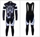 "New Men's ""Ghost Wolf"" Cycling Long Sleeve Jersey +BIB Tights With 6D Padded"