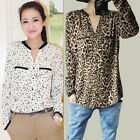 HOT Fashion Sexy Women's Baroque Leopard Chiffon Long Sleeve Blouse Tops T-shirt