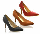 Ladies Womens Black Tan Faux Leather Court Shoes Mid High Heel Casual Work Size