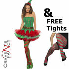Fever Elf Tutu Costume Santa's Helper Sexy Christmas Fancy Dress FREE TIGHTS