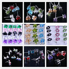 20Pairs 925 sterling Silver Heart Star Square Flower Crystal Ear Stud Earrings X