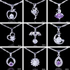Women Elegant Crystal Amethyst 925 Sterling Silver Dangle Pendants Fit Necklaces