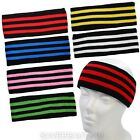 New Unisex Mens Womens Striped Sports Stretchy Headband 3 Stripes Sweatband