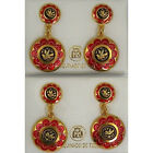 Damascene Gold Red Enamel Dove of Peace Drop Earrings by Midas of Toledo Spain