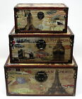 "UNIQUE SHABBY CHIC ""VINTAGE 3 CITIES"" DESIGN STORAGE CHEST TRUNK TOY BOX-3 SIZES"