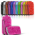DIAMOND BLING LEATHER PULL TAB CASE COVER POUCH & STYLUS FITS VARIOUS HTC PHONES