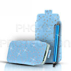 Bling PU Leather Pull Tab Pouch Case Cover & Pen For Various Sony Xperia Phones