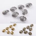 10pcs Antique Silver/Golden/Bronze Oval Shaped Hollow Out Spacer Beads Findings