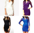 4 Colors Sexy Women's Lace Scalloped V-Neck Mini Slim 3/4 Sleeve Cocktail Dress
