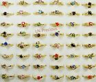 40-300pcs wholesale Jewelry lot rhinestone gold color Plated Rings free shipping
