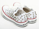 Genuine Converse All Star shoes Low white Spike stud color Silver