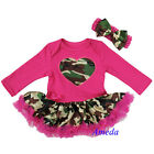 Newborn Baby Hot Pink Camo Heart Pettiskirt Party Dress Romper Jumpsuit 0-18M