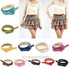 New Korean Lady PU Faux Leather Bow Tie Thin Belt Long Lank Girdle Candy Color
