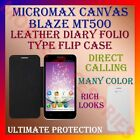 LEATHER DIARY FOLIO FLIP FLAP CASE for MICROMAX CANVAS BLAZE MT500 MOBILE COVER