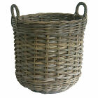 Round Shaped Grey Rattan Wicker Log Basket with handles - Choice of 3 sizes