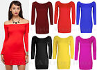 New Ladies Womens Off The Shoulder Long Sleeve Mini Bodycon Tunic Dress Size8-14