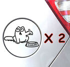2 X Simons Cat #1 Decals Stickers Gas Fuel Tank Graphics Vinyl Animals A