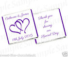 ** 50 PERSONALISED WEDDING, ANNIVERSARY, ENGAGEMENT CHOCOLATES - HEARTS DESIGN
