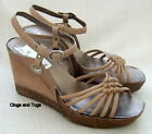 NEW CLARKS SOFTWEAR SCENIC WAY MUSHROOM LEATHER WEDGE SANDALS SIZE 6.5 / 40
