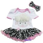 Easter Baby Pink Damask Rosettes Sheep Jumpsuit Tutu Romper Party Dress NB-18M