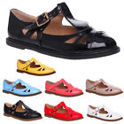WOMENS LADIES FLAT CUT OUT MARY JANE T-BAR BUCKLE PADDED GEEK SHOES PUMPS SIZE