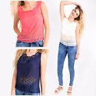 Hidden Fashion Womens Ladies Semi Sheer Laser Cut Out Scallop Hem Vest Tops